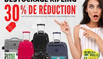 30% de réduction sur tous les modèles Kipling présents en boutique