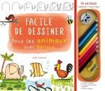 Facile de dessiner tous les animaux avec Barroux – Coffret livre + 8 crayons de couleur + 1 gomme + 1 taille-crayon